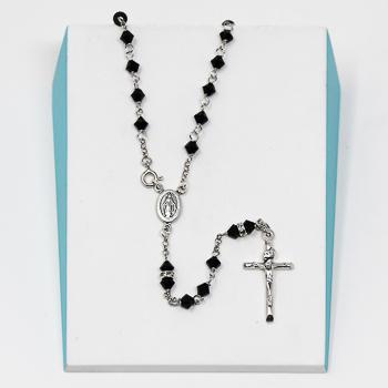 Sterling Silver Black Swarovski Crystal Rosary