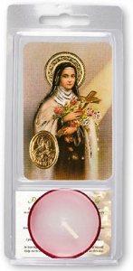 Saint Threresa Votive Candle & Prayer.
