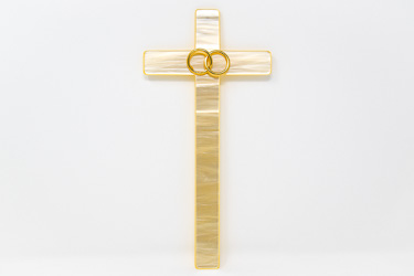 Marriage Pearl Wall Cross with Rings.