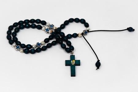 Wooden Elastic Blue Lourdes Rosary Beads.