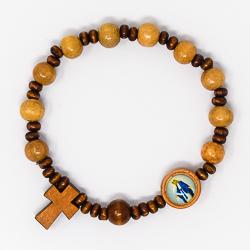 Wooden Elastic Cross Rosary Bracelet.