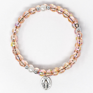 Wrap Around Rosary Bracelet Peach.
