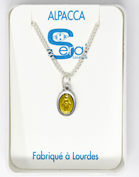Yellow Miraculous Medal Necklace.