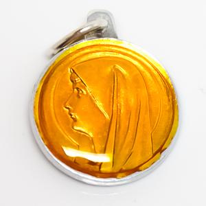 Yellow Virgin Mary Medal.